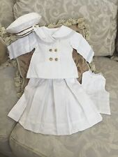 Antique Replica Sailor Dress & Hat for French Bru or Jumeau or German Doll