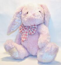 """Pink Plush 16"""" Lop ear Bunny Rabbit with plaid Bow Lovey Stuffed Animal Toy"""