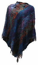 Fair Trade Cashmelon Soft Warm Blue Purple Printed Long Hooded Poncho Boho Hippy
