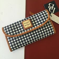 Dooney & Bourke Navy Coated Canvas Gingham Continental Clutch Wallet WGNGS0507