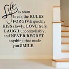 Life Is Short Love Quote wall Art Sticker Vinyl Decal Home Room Decor Removable