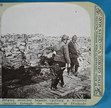 WW1 Stereoview Belgian Stretcher Bearers Wounded Dixmude Realistic Travels