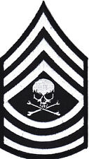 MILITARY-MASTER SERGEANT- INSIGNIA-DEATH SKULL-CROSSBONES -BIKER-IRON ON PATCH