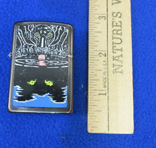 Metal Zippo Lighter Black Panther Cat Drinking Water Reflection Tail Vintage