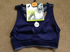 BNWT M&S Blue Non Wired Medium Impact Sports Bra Crop Top Seam Free Size S 8-10