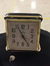1950's Vintage Bulova Travel Winding Alarm Clock In Black Case