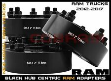 "Complete Set OF 2012-2017 Ram 1500 2"" Black Hub Centric Wheel Spacers Adapters"