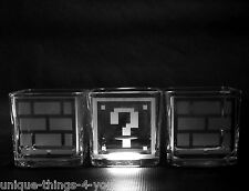 Super Mario Bros. 8 Bit Etched Question Mark Brick Square Glasses Jars Set of 3