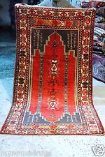 Cr1900-1939s Antique 4'3''x8'9'' Multi-Colored Wool Area Pile Rug-Museum Qlty