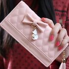 Popular Women Purse Quilted Long Card Wallets Bow iPhone Wallet Case Handbag Zip