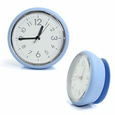 Blue Bathroom Mirror Suction Clock Shower Room Clock Kitchen Clock Waterproof