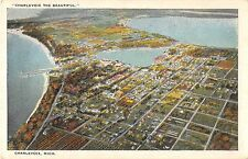 Charlevoix Michigan panoramic bird's eye view of city antique postcard (Y2840)