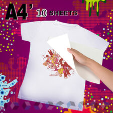 10pcs A4 T-Shirt Photo Iron-On Inkjet Print Heat Transfer Paper Pyrograph Paper