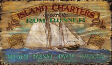 RUM RUNNER ~ ISLAND CHARTERS ~ Handcrafted Wood Wall Art Ad Sign ~ by PLD