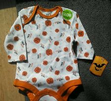 Baby Halloween onesie Newborn Outfit Boy Girl Shirt Glow in Dark Pumpkins NEW