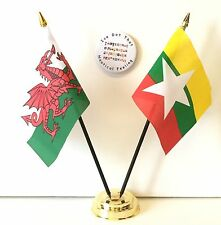 Wales & Myanmar New Double Friendship Table Flags & Badge Set