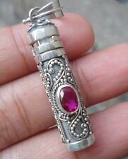 925 Solid Silver-Ruby Cut Balinese Perfume/Wish Bottle Pendant-75H