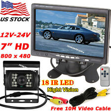 "12V-24V 7"" Color LCD Monitor Bus Truck Rear View Kit +IR Reversing Backup Camera"