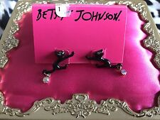 Betsey Johnson Enchanted Forest Tiny Scaredy Black Cat Stud Earrings VERY RARE