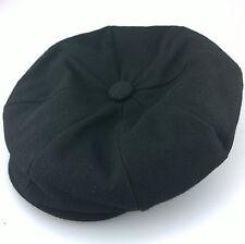 Calidad 8 Pieza botón noticiero Cap Negro Mezcla de Lana L (58-59cm) and XL (60-61cm)