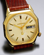 Scarce Bulova Accutron Gold-Filled Octagonal Day/Date Wrist Watch CA1970s