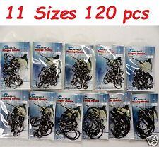 120 Ringed Circle Hooks 4x Strong Black Nickel - 11 Sizes fishing hooks