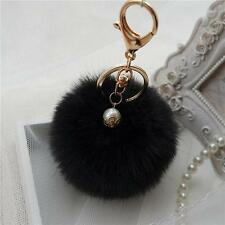 Black Handbag Charm Key Ring Rabbit Fur Ball PomPom Cell Phone Car Keychain