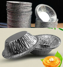 50pcs Disposable Aluminum Foil Baking Cups Egg Tart Pan Cupcake Case