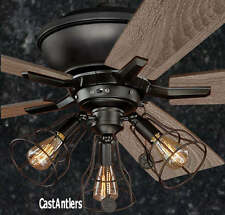 52 INCH EDISON RUSTIC INDUSTRIAL LODGE CAGE CEILING FAN WITH LIGHT