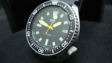 Vintage Seiko divers 7002 Auto MOD BLACK DIAL YELLOW PLONGUE 150m Watch J27.