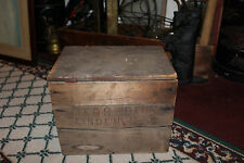 Antique Mikos Dairy Linden New Jersey NJ Wood Milk Box Crate-RARE-Lidded-LQQK