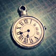 Clock Charm Pendant Antiqued Silver Steampunk Charm Enameled Pocket Watch