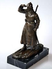 Bronze Figur MOSKAU 1932 Russischer Infanterist Soldat Rote Armee Ski Signiert