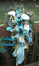 Silk Bridal Flower Wedding Bouquet Set 2 pc Turquoise, Lilies