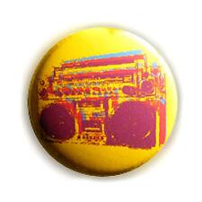 Badge GHETTO BLASTER JAUNE Stylisé pop culte hip hop rap retro pins button Ø25mm