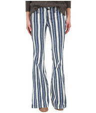 ☮ FREE PEOPLE Striped Blue White Stripes Flare Jeans   ☮  Size 26