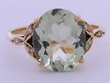 R099 -Solid 9K Rose Gold Natural Green Amethyst & Diamond Solitaire Ring size O