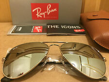 New Ray Ban Aviator 3025 003/40 Silver Frame Silver Mirror Lens Sunglasses 58mm