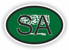 Saudi Arabia COUNTRY CODE OVAL WITH FLAG STICKER bumper decal car bike tablet