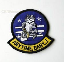 UNITED STATES NAVY F-14 TOMCAT ANY TIME ANYTIME BABY EMBROIDERED PATCH 3 INCHES