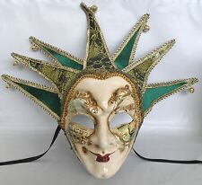 Masquerade Mask with Ribbon Tie Up Or Hanging - Green & Gold Jester Joker Face