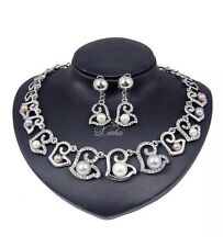 B45 Pink Black White Pearl Heart Necklace Earring Set Sterling Silver Plated