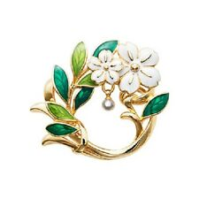 Art Deco style white enamel plum prunus flower wreath  brooch bag pin