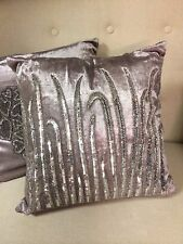 Stunning Silver Beaded Leaf Silver Velvet Cushion Bling Chair Bed Cushions