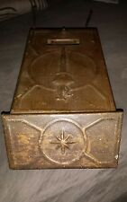 VINTAGE HEAVY TIN BRASS ARTS AND CRAFTS WALL MOUNT MAILBOX NEWSPAPER HOLDER