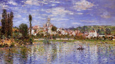 Art Oil painting Claude Monet - Vetheuil in Summer people boating no framed