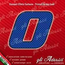 Adesivo Stickers NUMERO 0 moto auto cross gara Carbon Effect Blu 5 cm