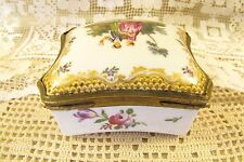Antique EDME SAMSON & CIE Hand Painted Floral Porcelain Brass Hinged Trinket Box