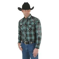 Wrangler Logo Mens Green Plaid Embroidered Western Snap Shirt *nwt* XLarge