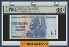 TT PK 91 2008 ZIMBABWE 100 TRILLION DOLLARS RESERVE BANK PMG 68 EPQ SUPERB GEM !